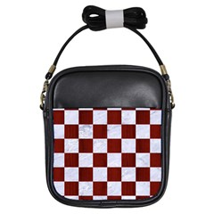 Square1 White Marble & Red Woodsquare1 White Marble & Red Wood Girls Sling Bags by trendistuff