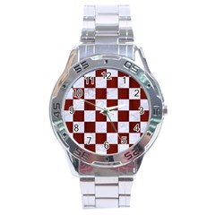 Square1 White Marble & Red Woodsquare1 White Marble & Red Wood Stainless Steel Analogue Watch by trendistuff