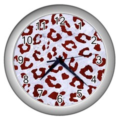 Skin5 White Marble & Red Wood Wall Clocks (silver)  by trendistuff