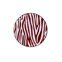Skin4 White Marble & Red Wood (r) Hat Clip Ball Marker (4 Pack) by trendistuff