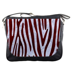 Skin4 White Marble & Red Wood Messenger Bags by trendistuff