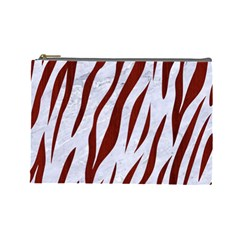 Skin3 White Marble & Red Wood (r) Cosmetic Bag (large)  by trendistuff