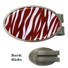 Skin3 White Marble & Red Wood Money Clips (oval)  by trendistuff
