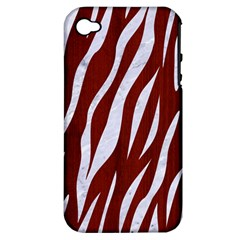 Skin3 White Marble & Red Wood Apple Iphone 4/4s Hardshell Case (pc+silicone) by trendistuff