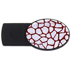 Skin1 White Marble & Red Wood Usb Flash Drive Oval (4 Gb)