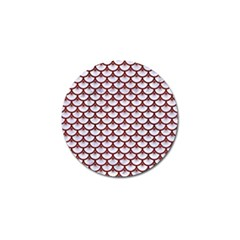 Scales3 White Marble & Red Wood (r) Golf Ball Marker (10 Pack) by trendistuff