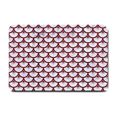 Scales3 White Marble & Red Wood (r) Small Doormat  by trendistuff
