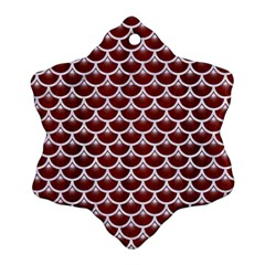 Scales3 White Marble & Red Wood Ornament (snowflake) by trendistuff