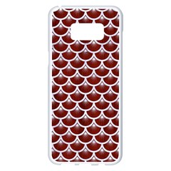 Scales3 White Marble & Red Wood Samsung Galaxy S8 Plus White Seamless Case by trendistuff