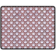 Scales2 White Marble & Red Wood (r)scales2 White Marble & Red Wood (r) Double Sided Fleece Blanket (medium)  by trendistuff