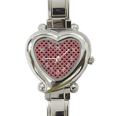 Scales2 White Marble & Red Wood Heart Italian Charm Watch by trendistuff