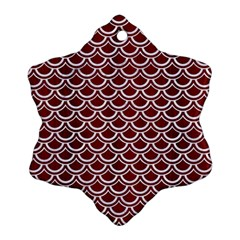 Scales2 White Marble & Red Wood Snowflake Ornament (two Sides) by trendistuff