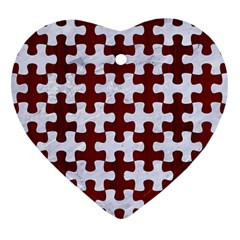 Puzzle1 White Marble & Red Wood Heart Ornament (two Sides) by trendistuff