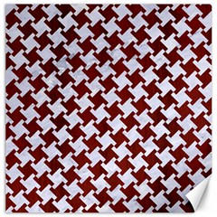 Houndstooth2 White Marble & Red Wood Canvas 16  X 16   by trendistuff