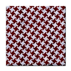 Houndstooth2 White Marble & Red Wood Face Towel by trendistuff