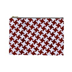 Houndstooth2 White Marble & Red Wood Cosmetic Bag (large)  by trendistuff