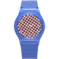 Houndstooth2 White Marble & Red Wood Round Plastic Sport Watch (s) by trendistuff