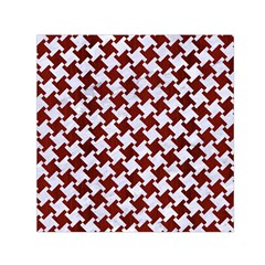 Houndstooth2 White Marble & Red Wood Small Satin Scarf (square) by trendistuff