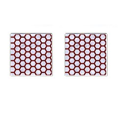 Hexagon2 White Marble & Red Wood (r) Cufflinks (square) by trendistuff