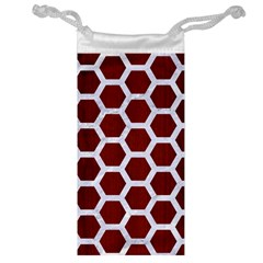 Hexagon2 White Marble & Red Wood Jewelry Bag by trendistuff
