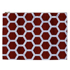 Hexagon2 White Marble & Red Wood Cosmetic Bag (xxl)  by trendistuff