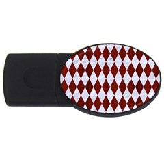 Diamond1 White Marble & Red Wood Usb Flash Drive Oval (4 Gb)