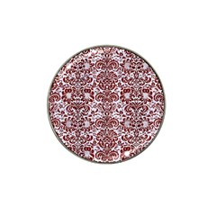 Damask2 White Marble & Red Wood (r) Hat Clip Ball Marker (10 Pack) by trendistuff