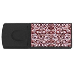 Damask2 White Marble & Red Wood (r) Rectangular Usb Flash Drive by trendistuff