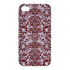 Damask2 White Marble & Red Wood (r) Apple Iphone 4/4s Hardshell Case by trendistuff