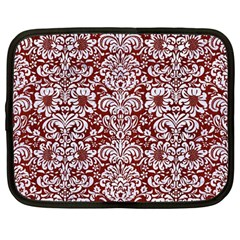Damask2 White Marble & Red Wood Netbook Case (large) by trendistuff