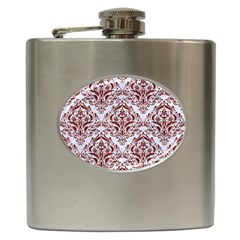 Damask1 White Marble & Red Wood (r) Hip Flask (6 Oz) by trendistuff
