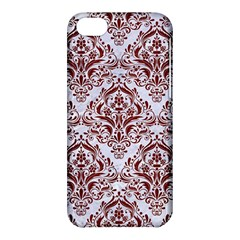 Damask1 White Marble & Red Wood (r) Apple Iphone 5c Hardshell Case by trendistuff