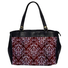 Damask1 White Marble & Red Wood Office Handbags by trendistuff
