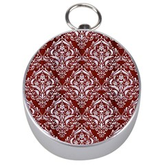 Damask1 White Marble & Red Wood Silver Compasses by trendistuff