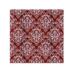 Damask1 White Marble & Red Wood Small Satin Scarf (square) by trendistuff