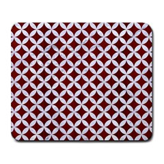 Circles3 White Marble & Red Wood Large Mousepads