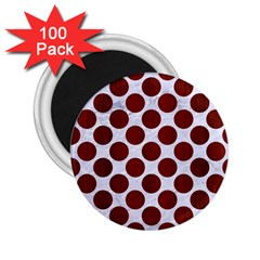 Circles2 White Marble & Red Wood (r) 2 25  Magnets (100 Pack)  by trendistuff