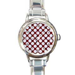 Circles2 White Marble & Red Wood Round Italian Charm Watch by trendistuff