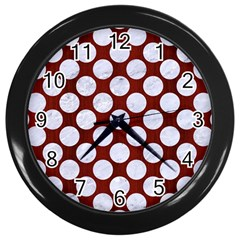 Circles2 White Marble & Red Wood Wall Clocks (black) by trendistuff