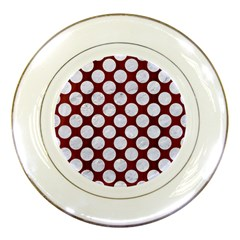 Circles2 White Marble & Red Wood Porcelain Plates by trendistuff