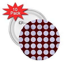 Circles1 White Marble & Red Wood 2 25  Buttons (10 Pack)  by trendistuff