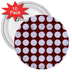 Circles1 White Marble & Red Wood 3  Buttons (10 Pack)  by trendistuff