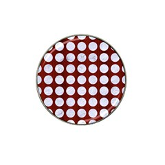 Circles1 White Marble & Red Wood Hat Clip Ball Marker (4 Pack) by trendistuff