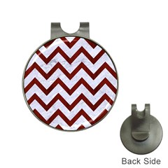 Chevron9 White Marble & Red Wood (r) Hat Clips With Golf Markers by trendistuff