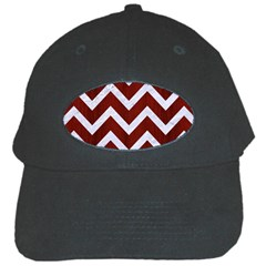 Chevron9 White Marble & Red Wood Black Cap by trendistuff