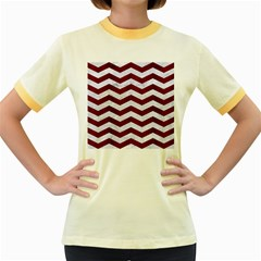 Chevron3 White Marble & Red Wood Women s Fitted Ringer T Shirts