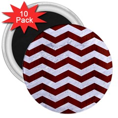 Chevron3 White Marble & Red Wood 3  Magnets (10 Pack)  by trendistuff
