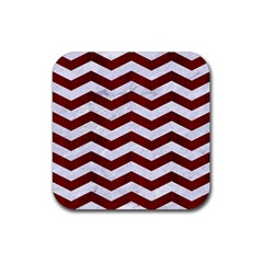 Chevron3 White Marble & Red Wood Rubber Coaster (square)