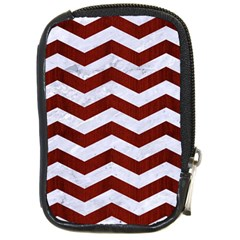 Chevron3 White Marble & Red Wood Compact Camera Cases by trendistuff