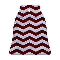 Chevron3 White Marble & Red Wood Bell Ornament (two Sides) by trendistuff